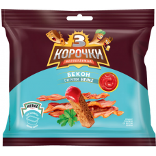 "Сухарики ""Три корочки"" со вкусом бекона и кетчупом «Heinz», 85 г (30шт в кор)"