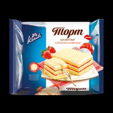 Бисквитный торт «КОНТИ» клубнично-сливочный 350гр