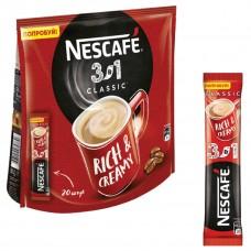 Кофе порционный растворимый Nescafe 3 в 1 Классик 20 пакетиков по 16 г