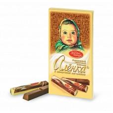 """Шоколад """"Аленка"""" с молочной начинкой 100г в стиках"""